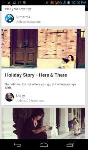 Pengguna yang bercerita tentang album liburan di Aplikasi Jepret Story