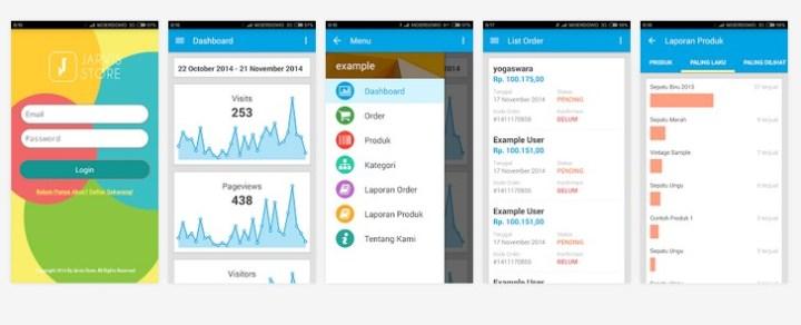 Tampilan Aplikasi Java Store di Android